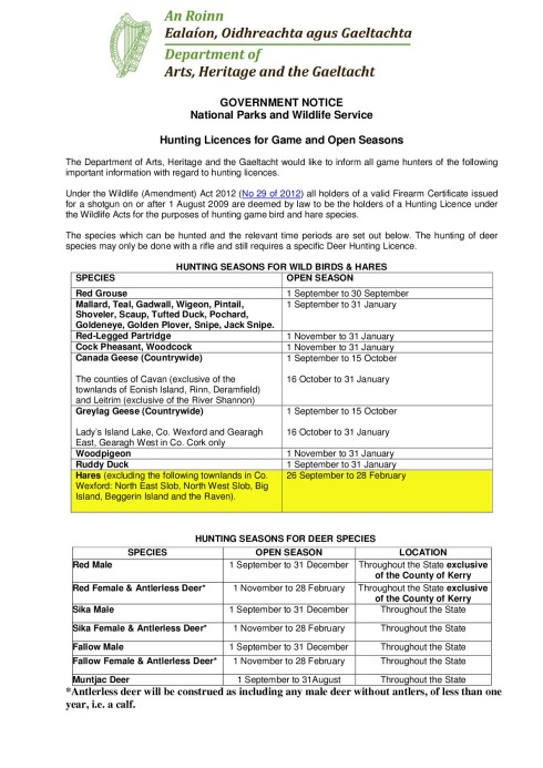 Government Notice Game Hunting Licences & Open Seasons 16 …