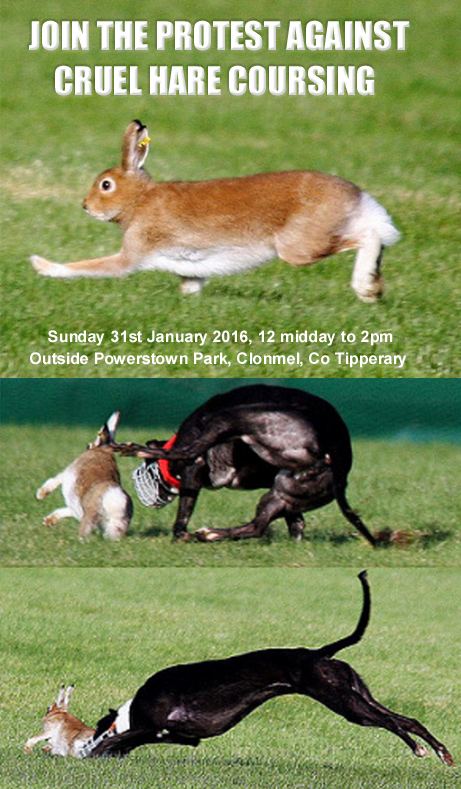 join the protest against cruel hare coursing